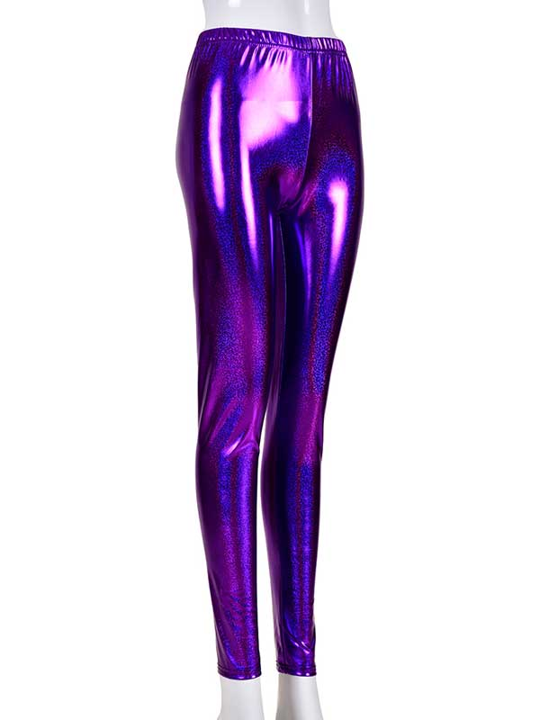 Ladies Purple Laser Effect Leggings