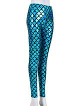 Ladies Scale Print Turquoise Laser Effect Leggings