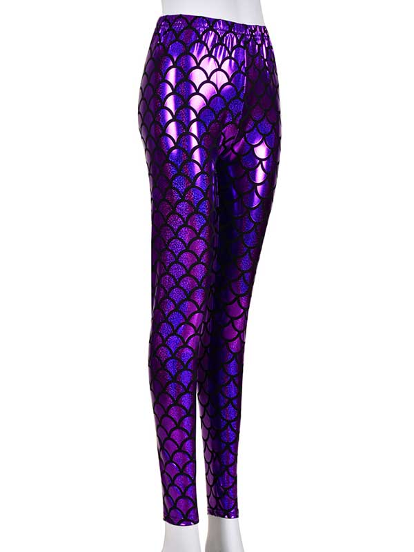 Ladies Scale Print Purple Laser Effect Leggings