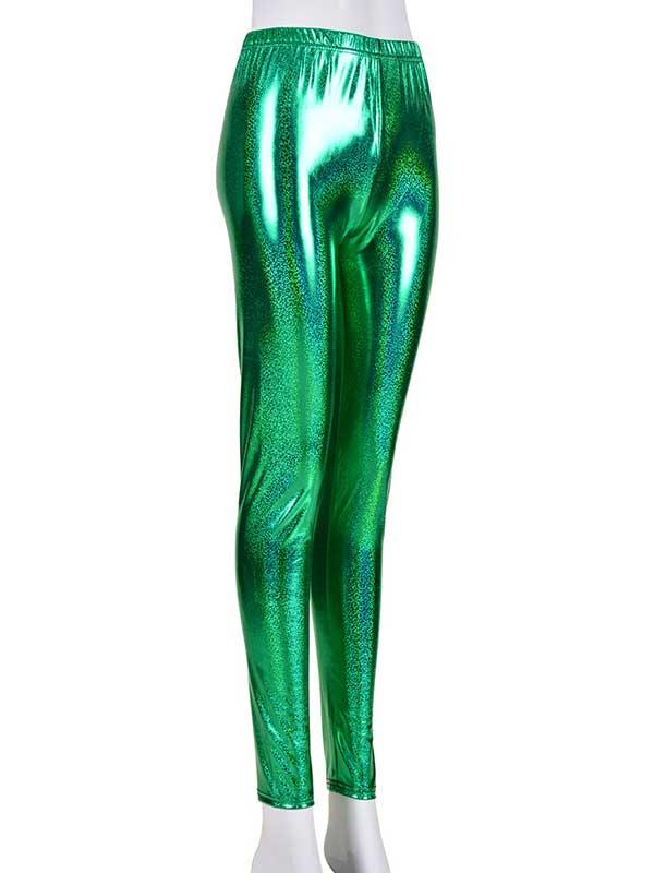 Ladies Green Laser Effect Leggings