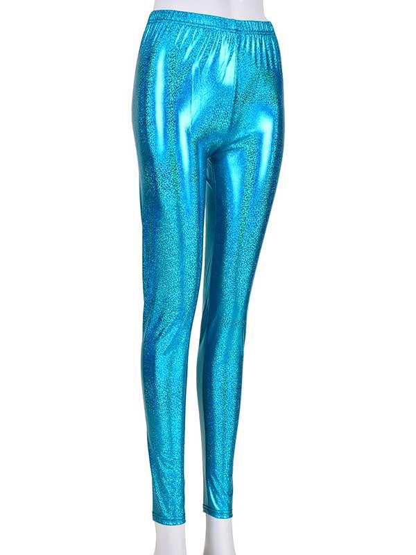 Ladies Turquoise Laser Effect Leggings