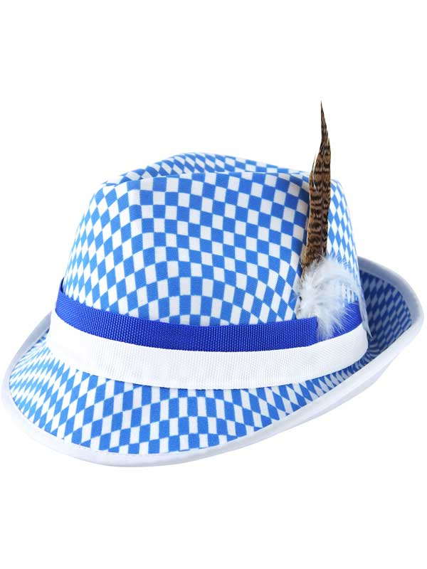Adult Hat Bavarian Festival W/Feather & Blue/White