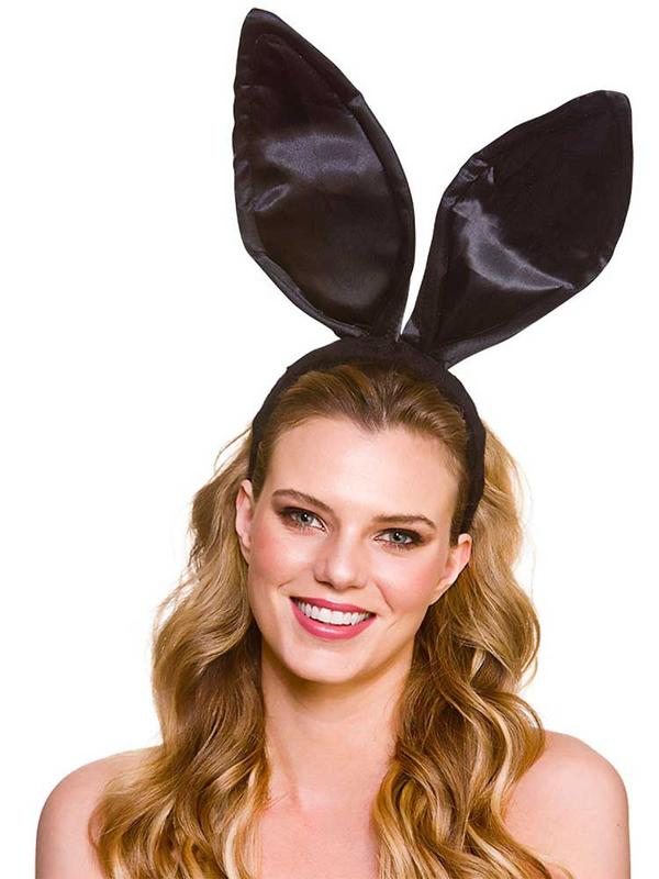 Adult Satin Bunny Ears - Black