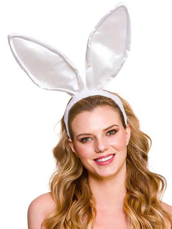 Adult Satin Bunny Ears - White