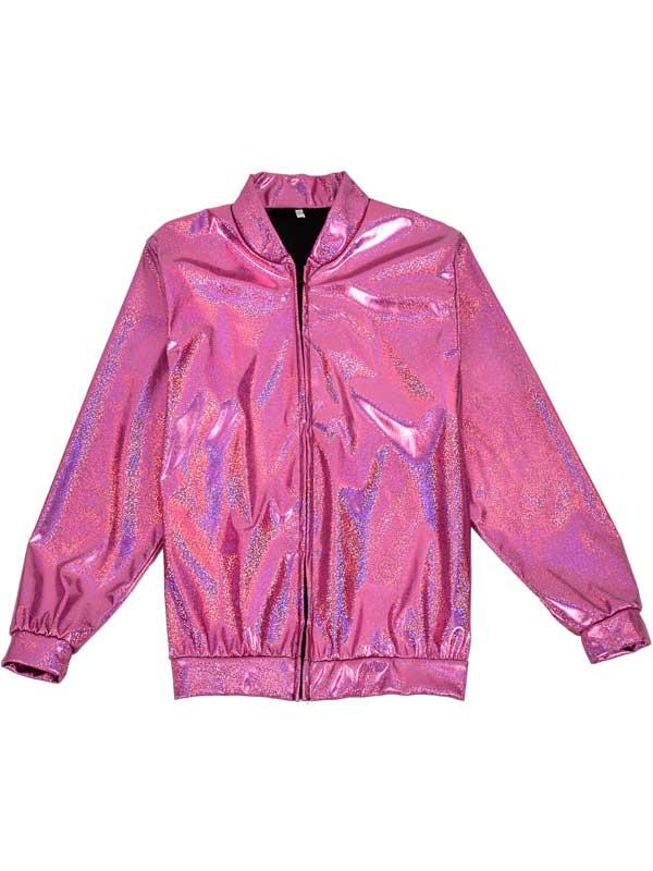 dbf578a5ea1 Sentinel Womens Mens Holographic Pink Metallic Bomber Jacket Fancy Dress  Festivals