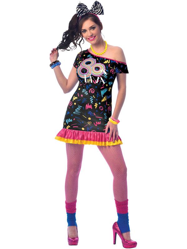 Ladies 80s Girl Costume Adults Retro 1980s Fancy Dress ...