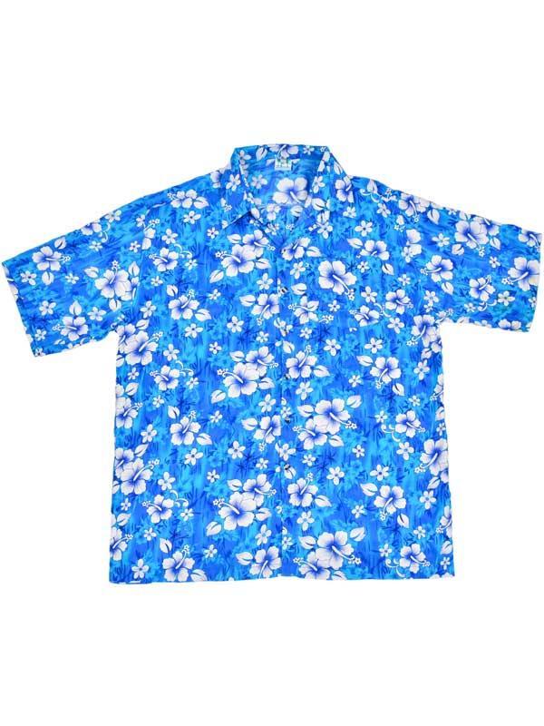 Adult Blue Hawaiian Shirt - White Flowers