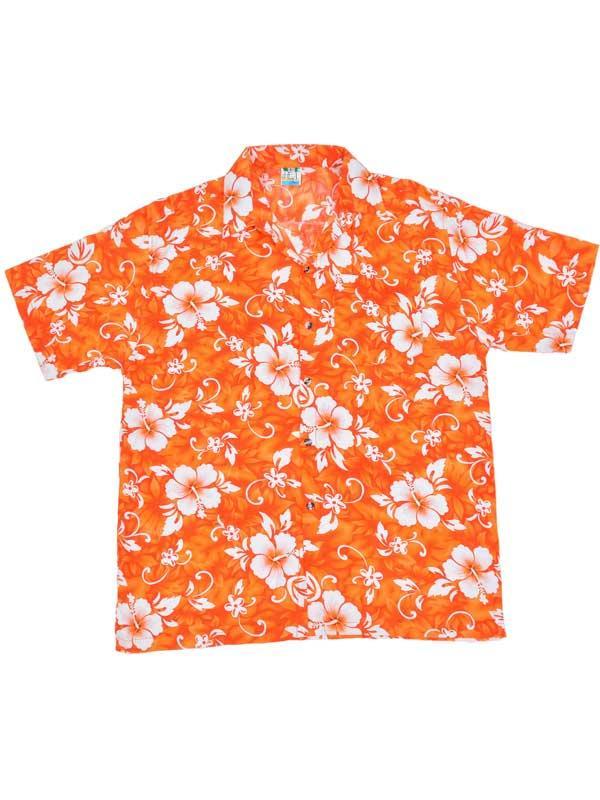 Adult Orange Hawaiian Shirt - White Flowers