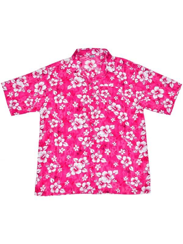 Adult Pink Hawaiian Shirt - White Flowers