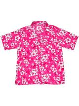 Adult Pink Hawaiian Shirt - White Flowers