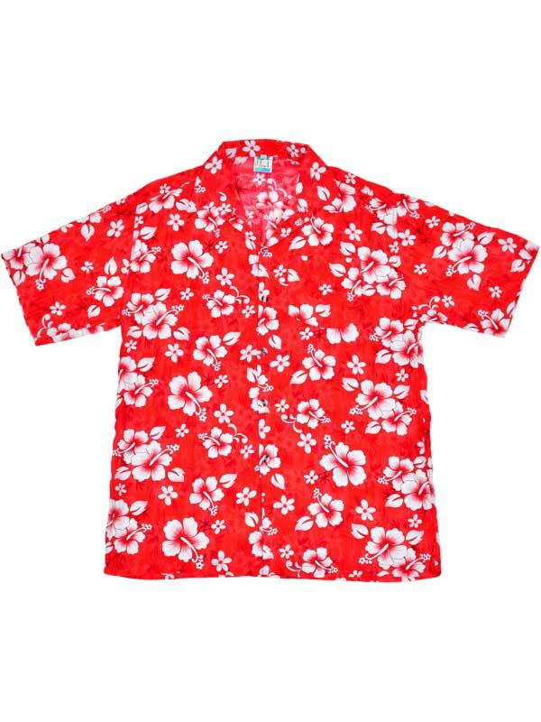 Adult Red Hawaiian Shirt - White Flowers