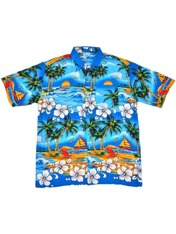 Adult Blue Hawaiian Shirt - Palm Trees
