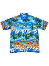 Adult Blue Hawaiian Shirt - Palm Trees