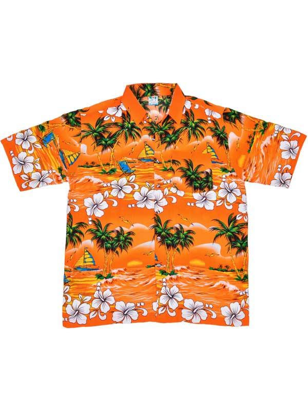 Adult Orange Hawaiian Shirt - Palm Trees