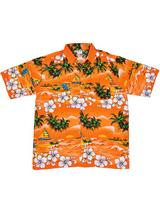 Adult Orange Hawaiian Shirt - Palm Trees