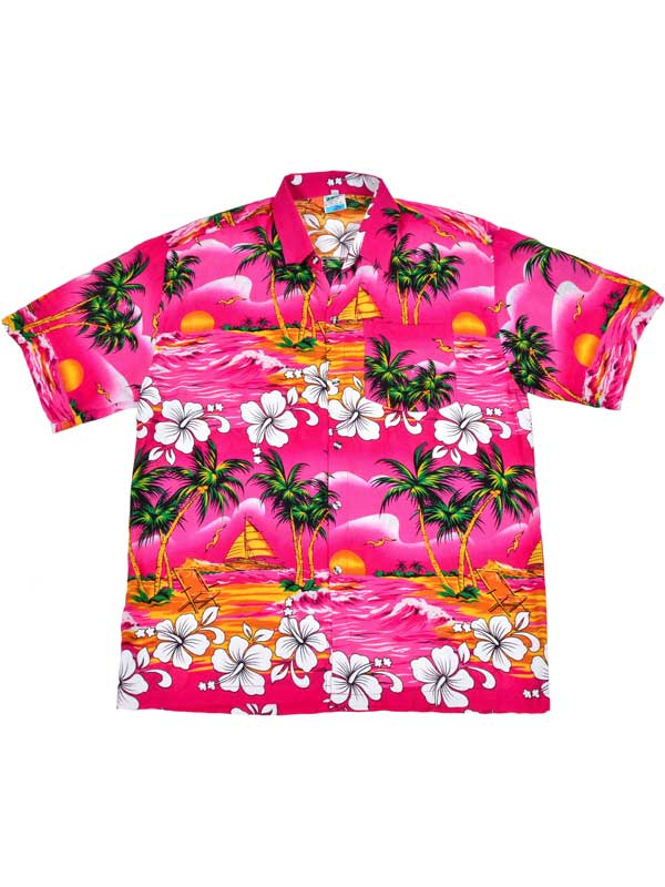 Adult Pink Hawaiian Shirt - Palm Trees