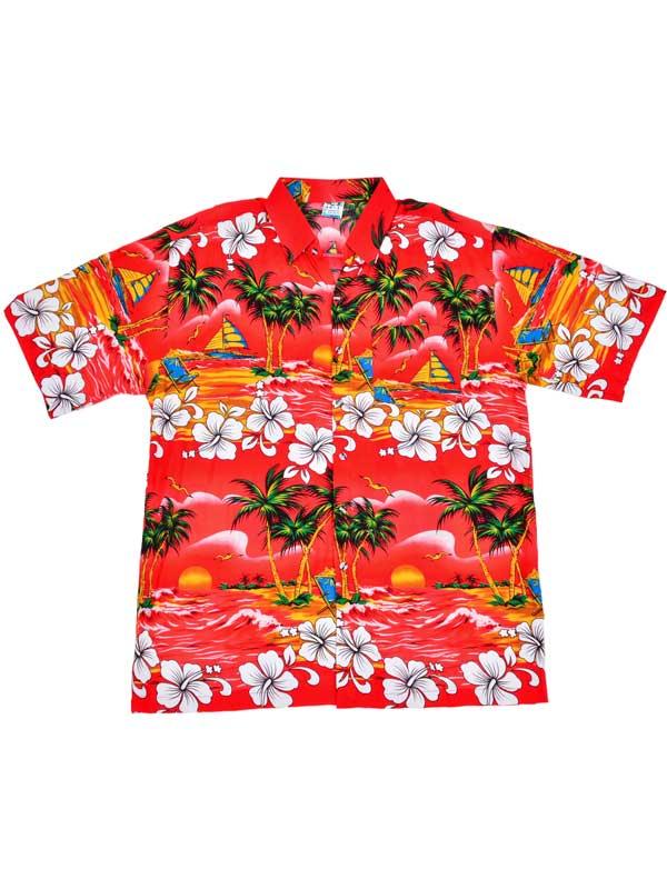 Adult Red Hawaiian Shirt - Palm Trees