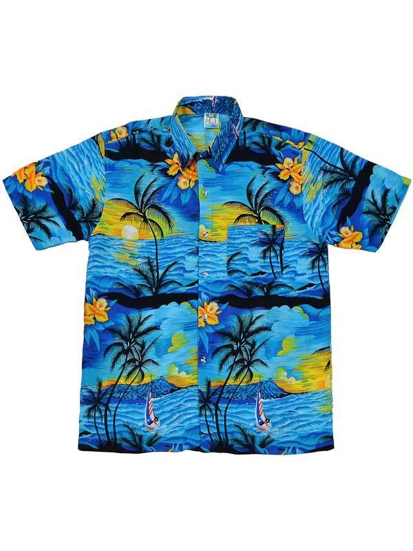 Adult Blue Hawaiian Shirt - Black Palm Trees