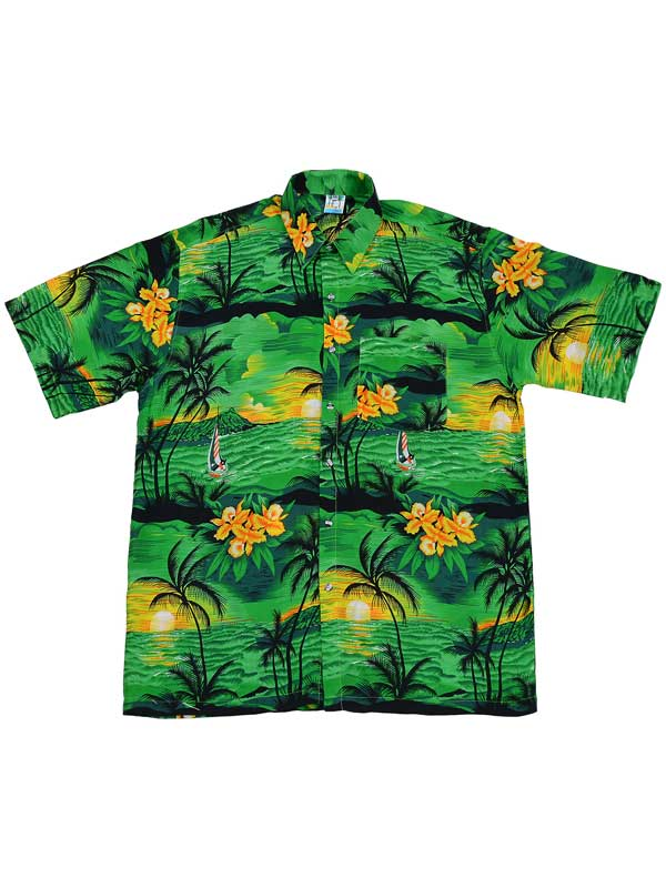 Adult Green Hawaiian Shirt - Black Palm Trees