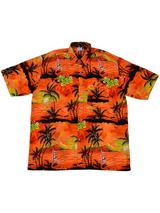 Adult Orange Hawaiian Shirt - Black Palm Trees