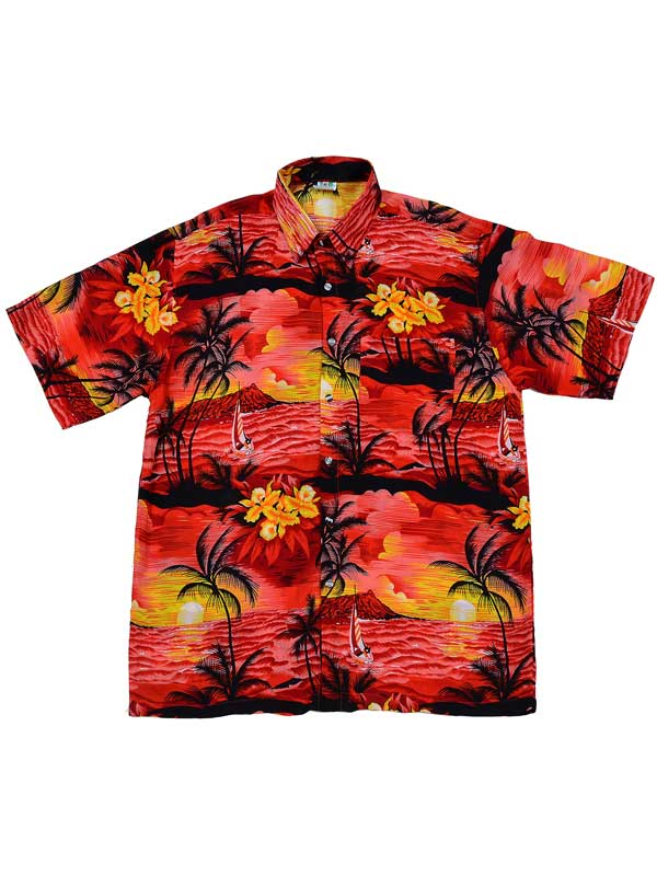 Adult Red Hawaiian Shirt - Black Palm Trees