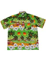 Adult Green Hawaiian Shirt - Beetle Cars