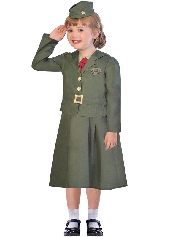 Child Wartime Officer Girl Costume