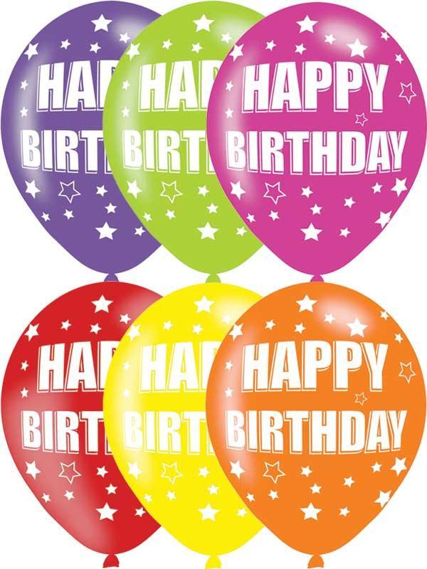 Happy Birthday Latex Balloons 6 Pack Thumbnail 1