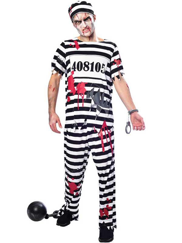 mens prisoner striped zombie escaped convict criminal halloween
