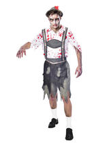 Adult Mens Oktoberfest Zombie Costume & Hat