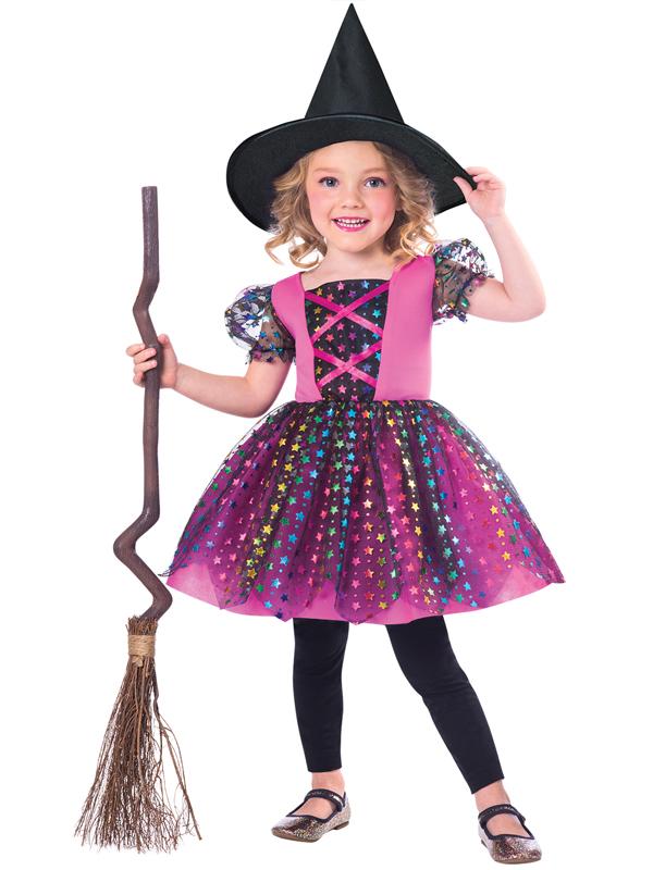 Child Girls Rainbow Witch Costume