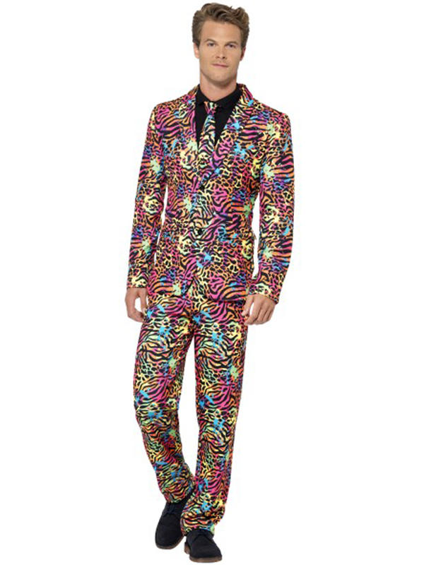 Adult Mens Stand Out Neon Print Suit Thumbnail 1
