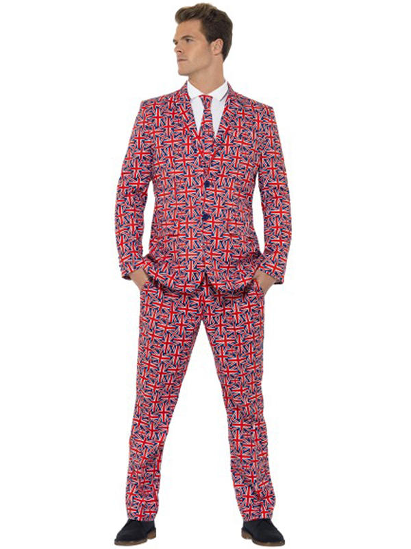 Adult Mens Stand Out Union Jack Suit Costume Thumbnail 1