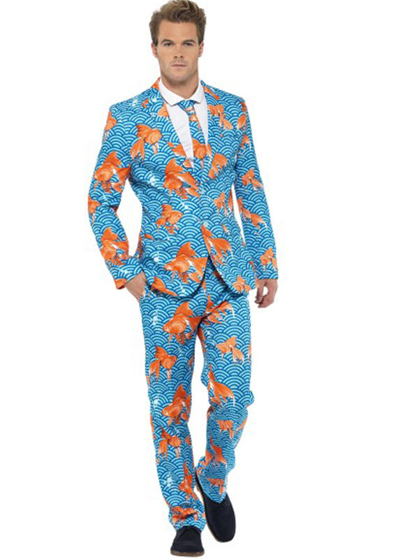 Adult Mens Stand Out Goldfish Suit Costume Thumbnail 1
