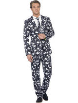 Adult Mens Stand Out Skeleton Suit Costume