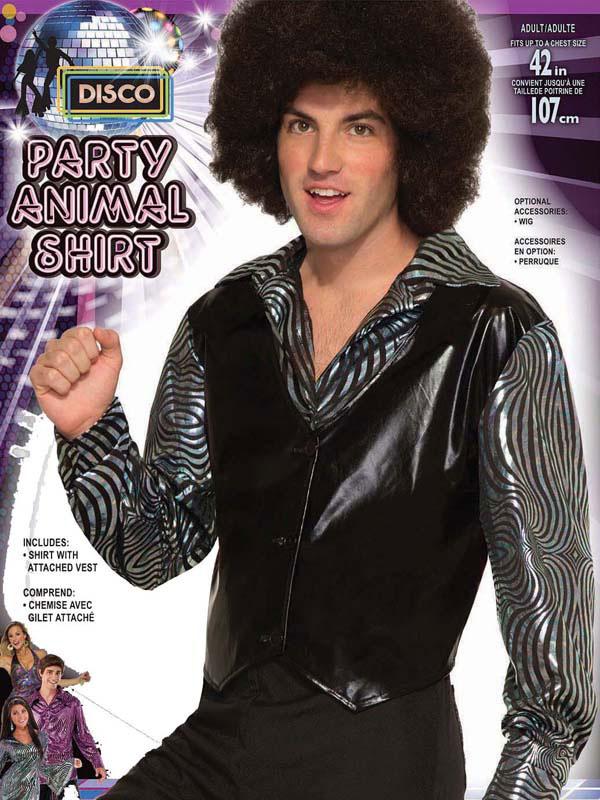 Mens 70s Party Animal Shirt & Waistcoat