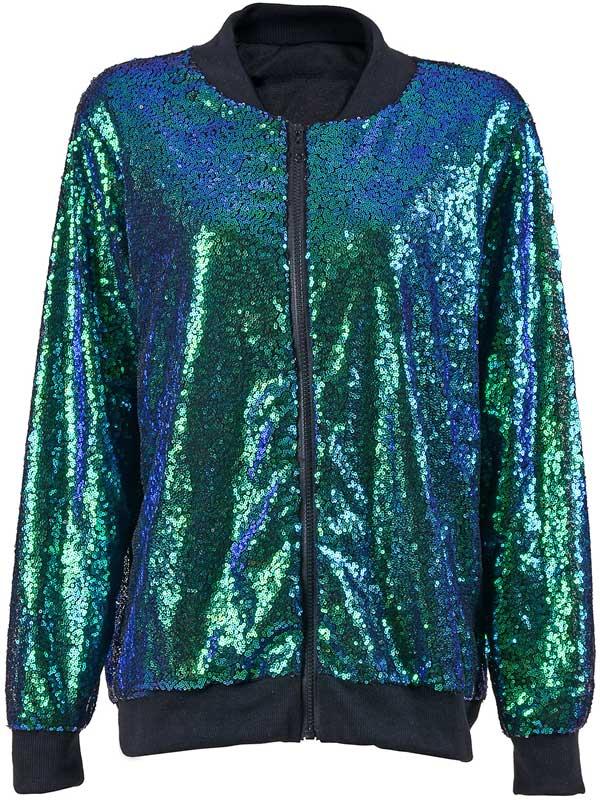 Green Sequin Bomber Jacket