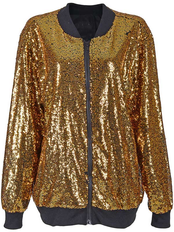 fcf94957 Adult 70s 80s Shiny Glitter Sequin Bomber Jacket Coat Disco Festival ...