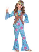 Child Girls Flower Power Hippie Costume