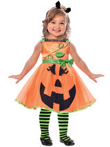 Child Girls Cute Pumpkin Costume Dress