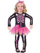 Child Girls Fancy Bones Skeleton Costume Dress