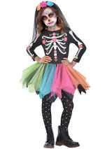 Child Girls Mexican Sugar Skull Costume