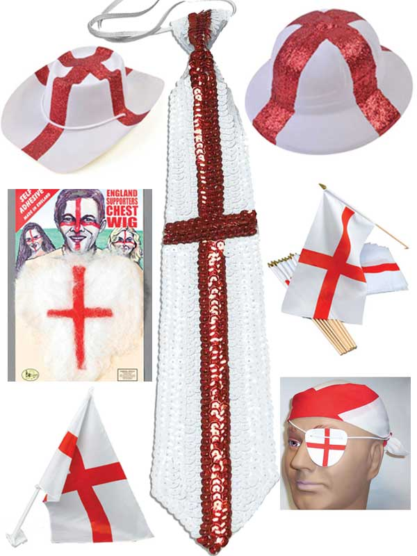 ENGLAND HAIRY CHEST ST GEORGE ENGLISH FLAG FANCY DRESS ACCESSORY