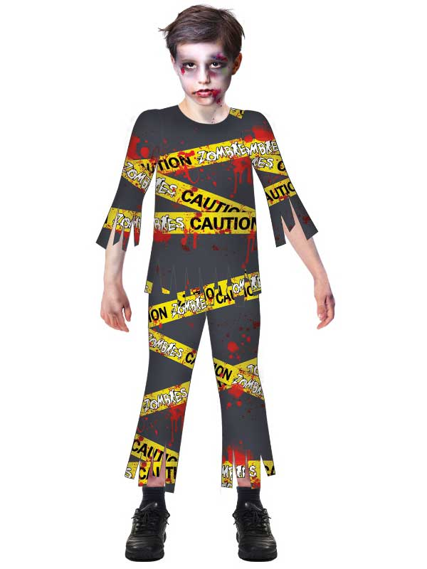 Child Boys Caution Zombie Costume