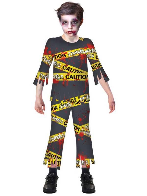 Child Boys Caution Zombie Costume
