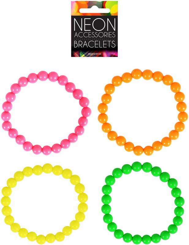 4 x Adult 20cm Neon Bracelets (Astd Colours)