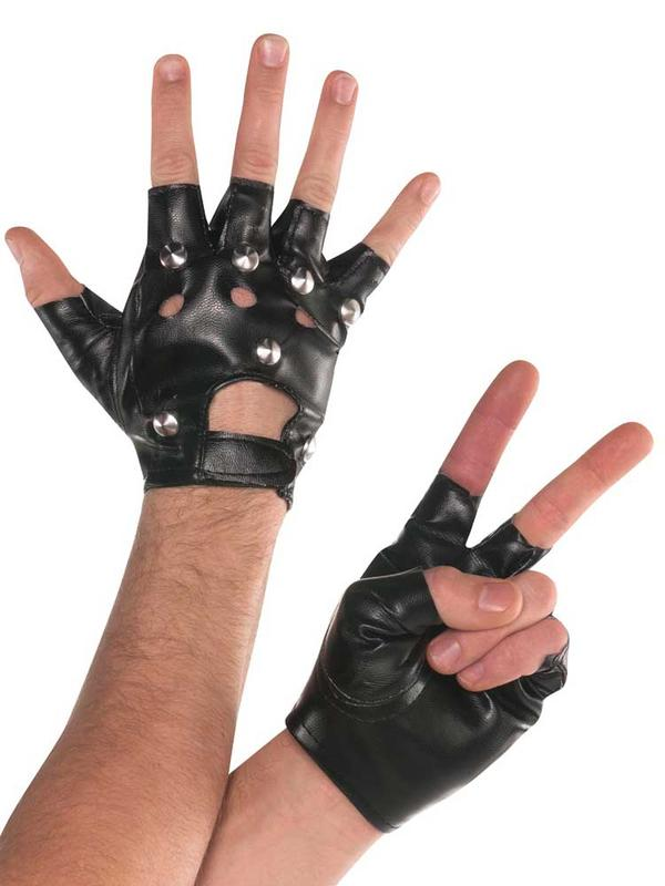 Adult Studded Fingerless Gloves