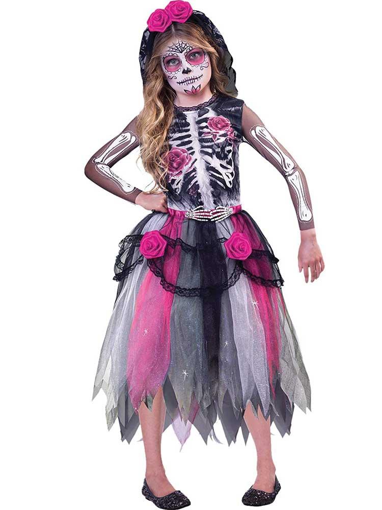 Child Girls Day Of The Dead Spirit Costume Dress