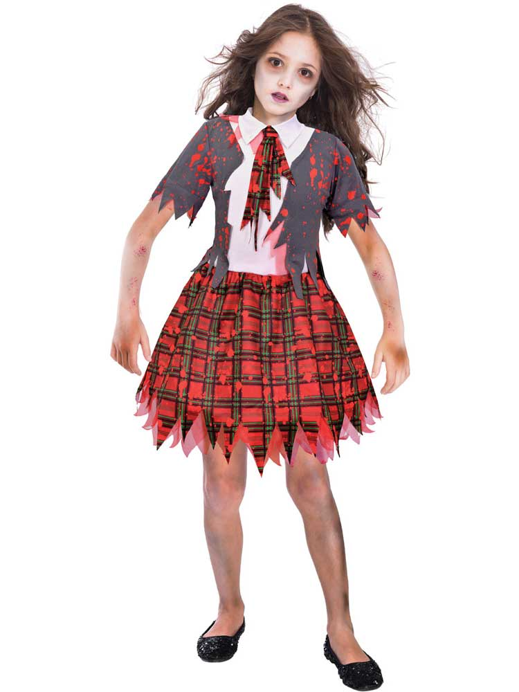 Sentinel Zombie School Girl Costume Girls Halloween Scary Fancy Dress Outfit  Child Kids 13665924a033