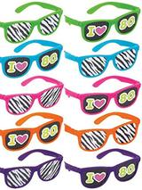 Adult Totally 80s Glasses With Printed Lens (10 Pack)